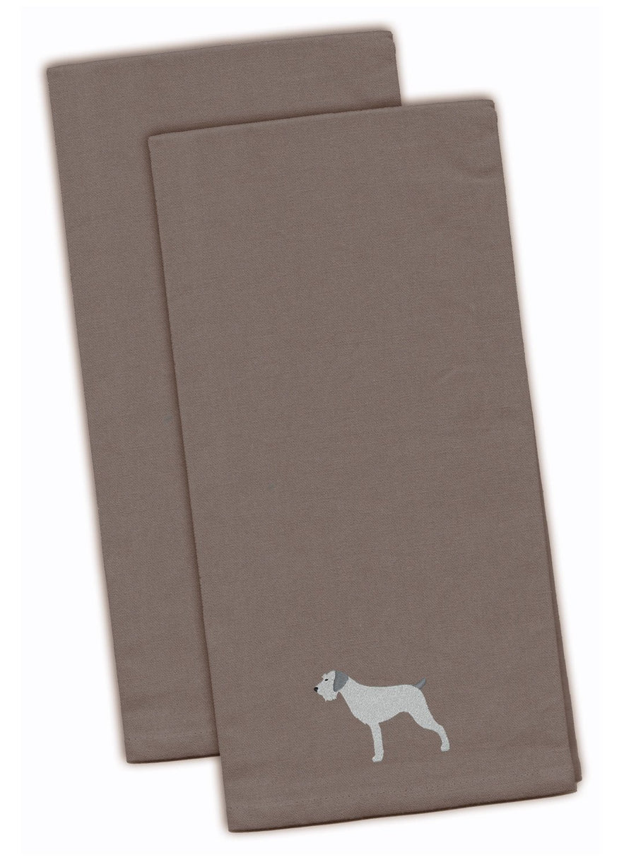 Buy this German Wirehaired Pointer Gray Embroidered Kitchen Towel Set of 2 BB3411GYTWE