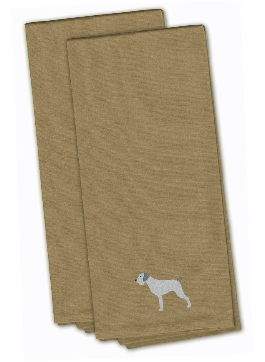 Buy this German Wirehaired Pointer Tan Embroidered Kitchen Towel Set of 2 BB3411TNTWE