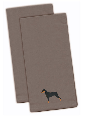 Buy this German Pinscher Gray Embroidered Kitchen Towel Set of 2 BB3413GYTWE