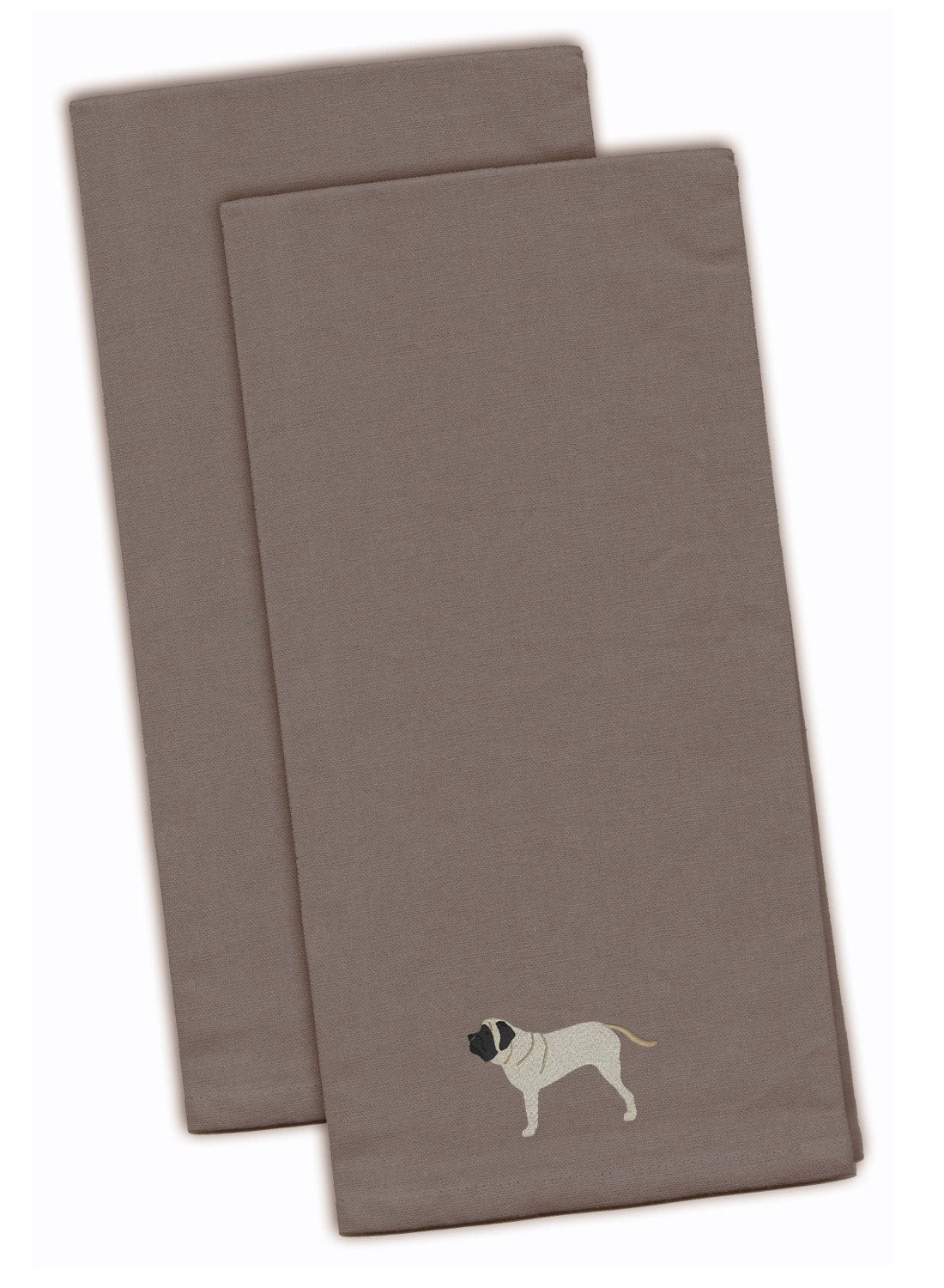 English Mastiff Gray Embroidered Kitchen Towel Set of 2 BB3456GYTWE by Caroline's Treasures