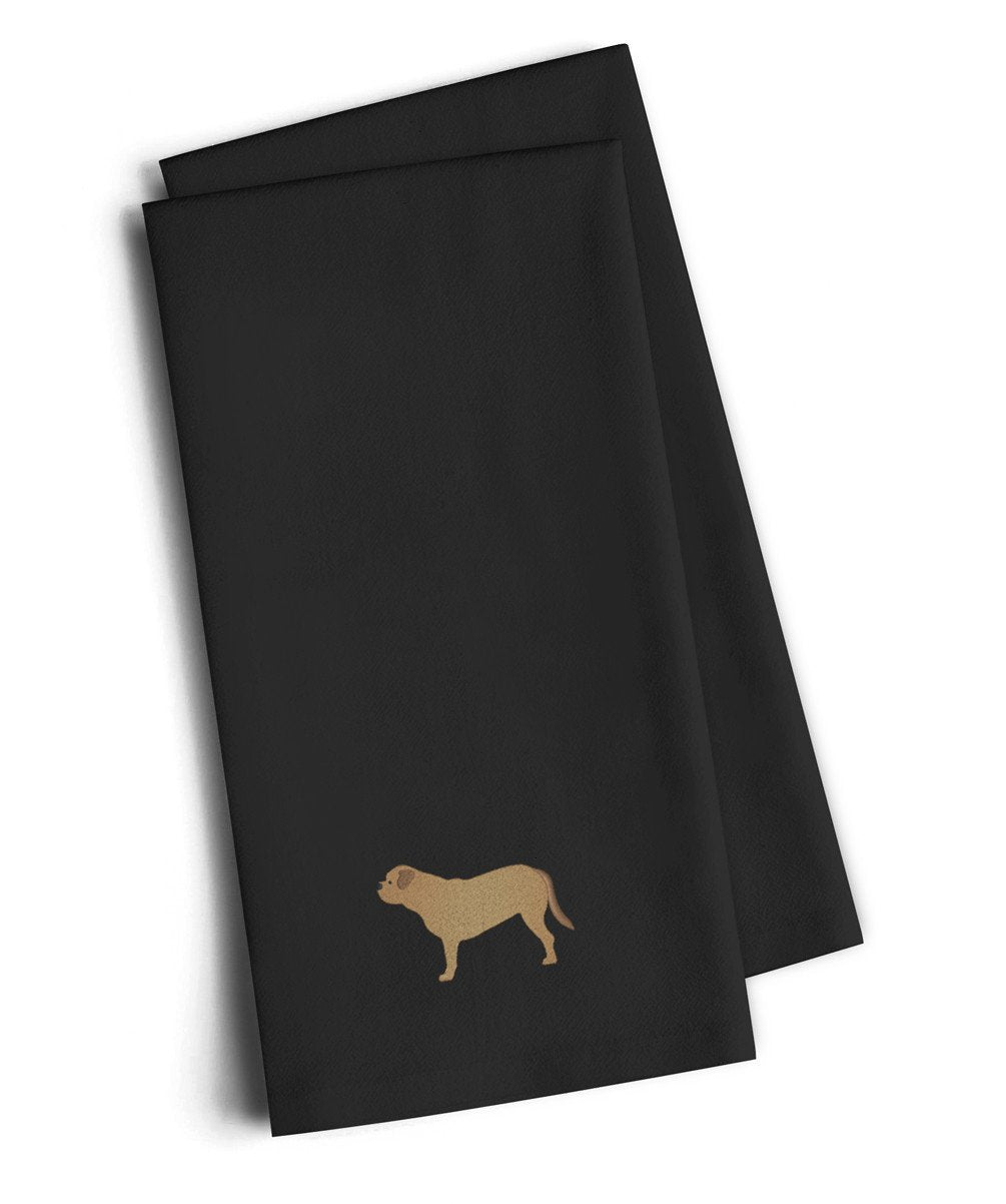 Dogue de Bordeaux Black Embroidered Kitchen Towel Set of 2 BB3470BKTWE by Caroline's Treasures