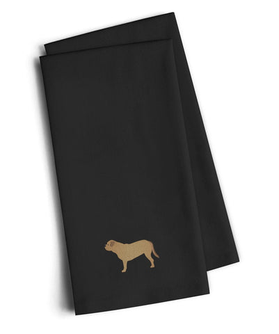 Buy this Dogue de Bordeaux Black Embroidered Kitchen Towel Set of 2 BB3470BKTWE