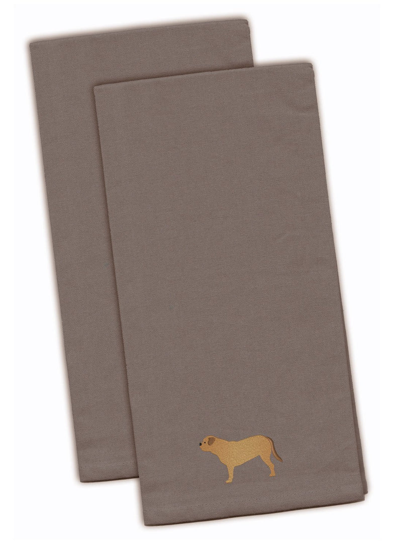 Buy this Dogue de Bordeaux Gray Embroidered Kitchen Towel Set of 2 BB3470GYTWE