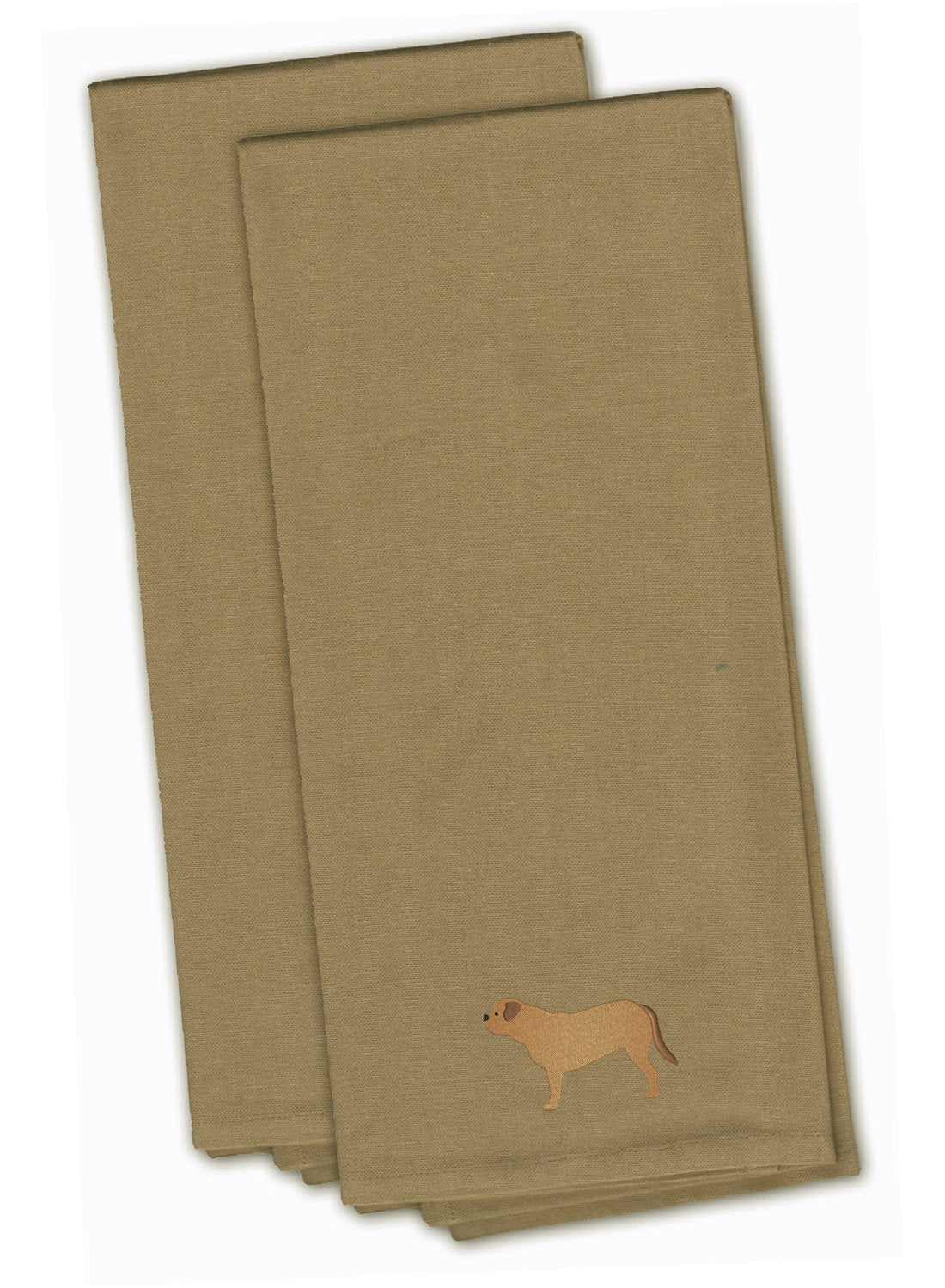 Buy this Dogue de Bordeaux Tan Embroidered Kitchen Towel Set of 2 BB3470TNTWE