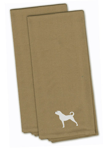Buy this Anatolian Shepherd Tan Embroidered Kitchen Towel Set of 2 BB3477TNTWE