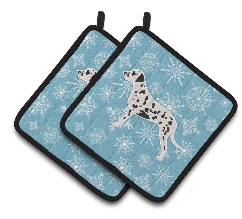 Buy this Winter Snowflake Dalmatian Pair of Pot Holders BB3483PTHD