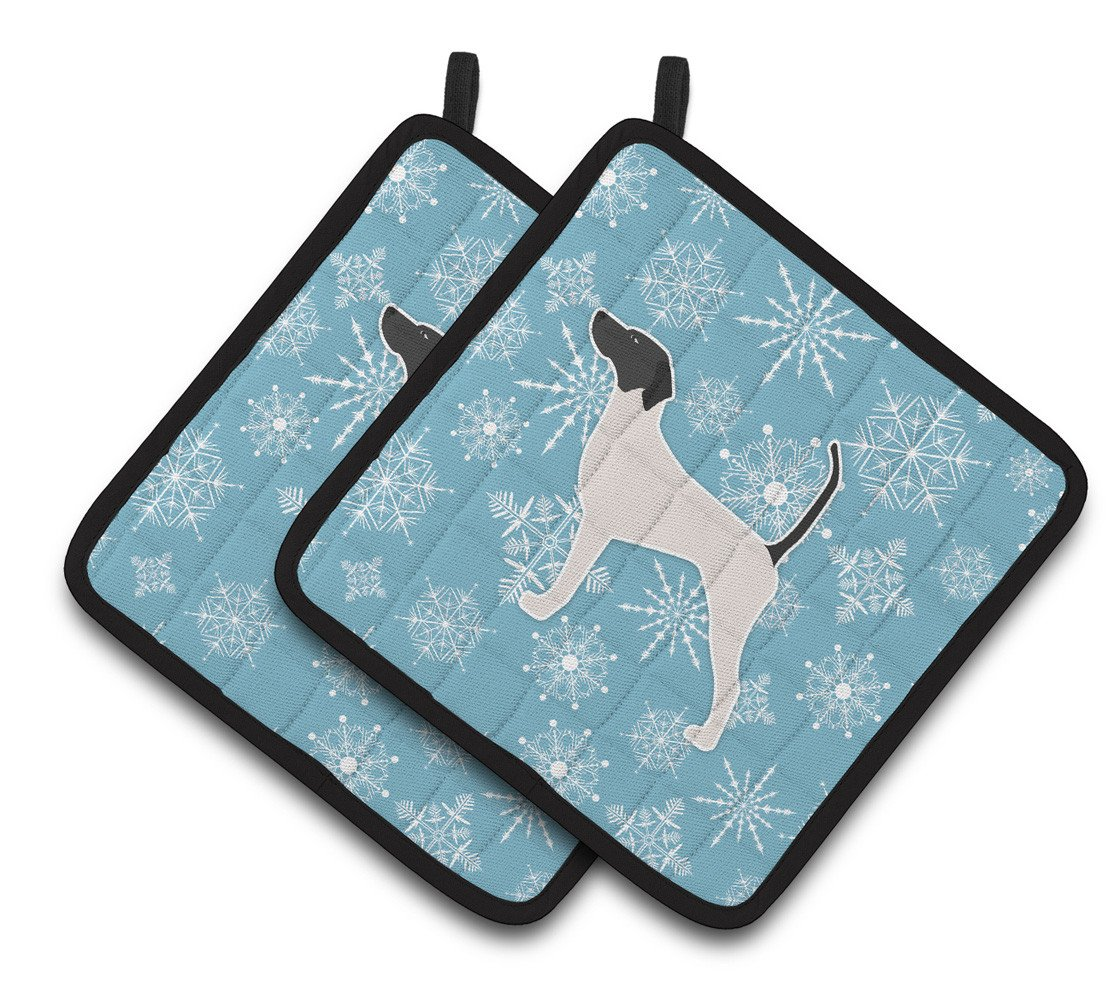 Winter Snowflake English Pointer Pair of Pot Holders BB3495PTHD by Caroline's Treasures