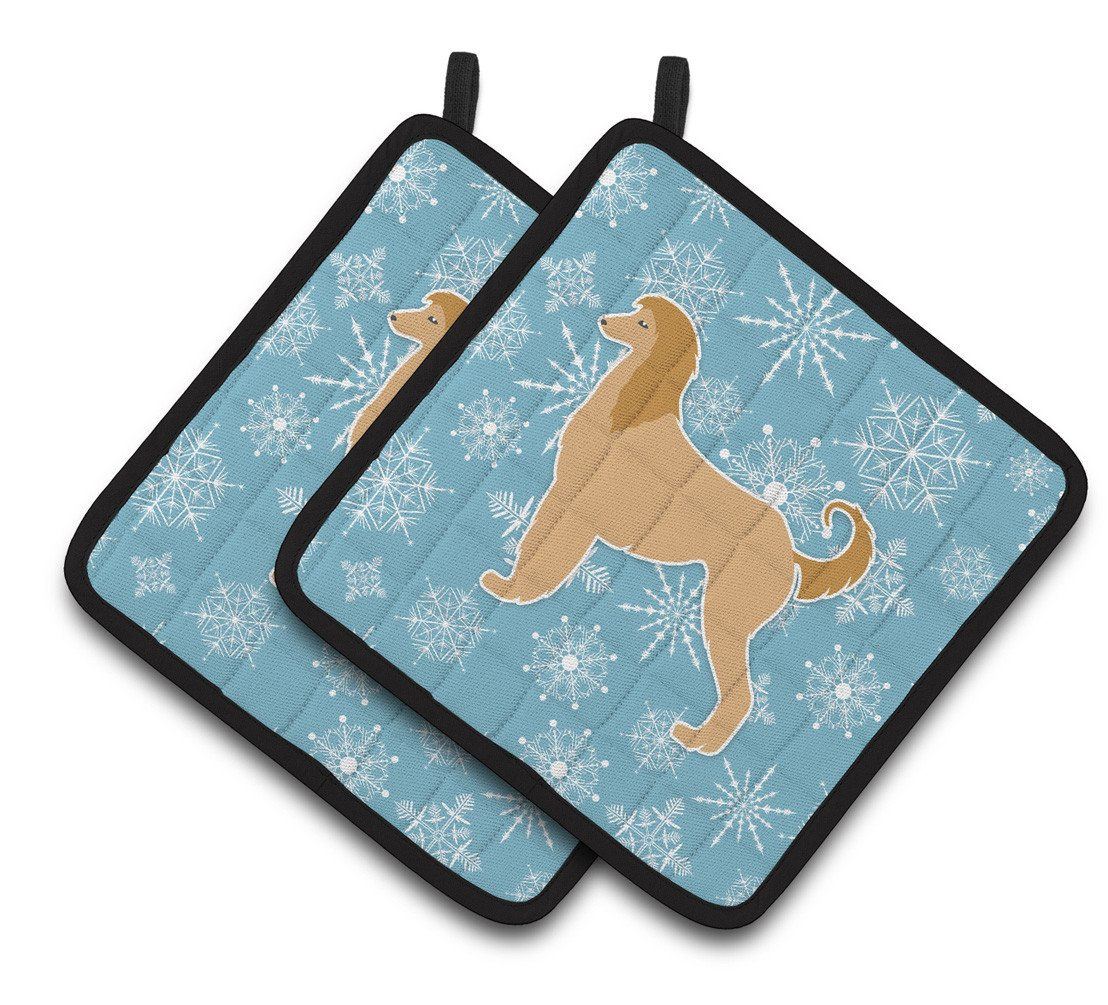 Winter Snowflake Afghan Hound Pair of Pot Holders BB3506PTHD by Caroline's Treasures