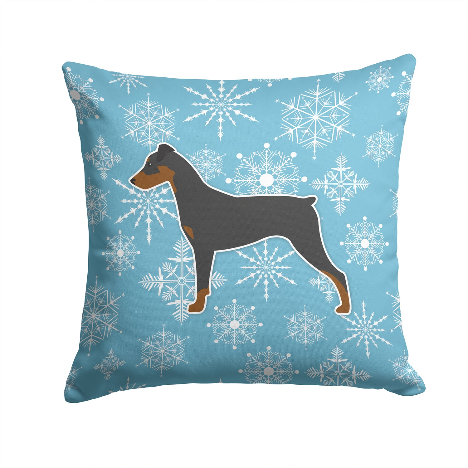 Winter Snowflake German Pinscher Fabric Decorative Pillow BB3513PW1414 by Caroline's Treasures