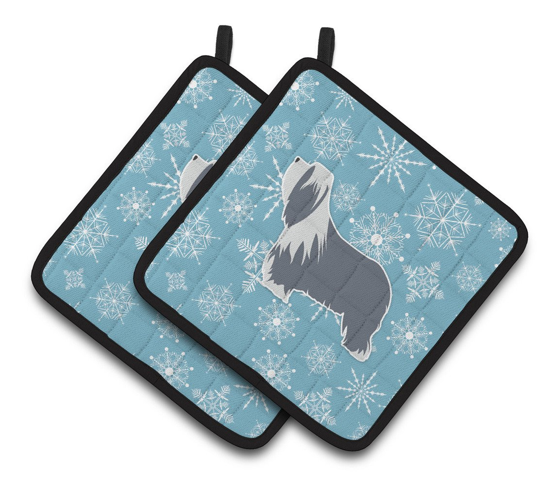 Buy this Winter Snowflake Bearded Collie Pair of Pot Holders BB3517PTHD