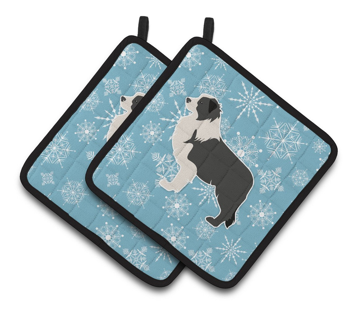Winter Snowflake Black Border Collie Pair of Pot Holders BB3523PTHD by Caroline's Treasures