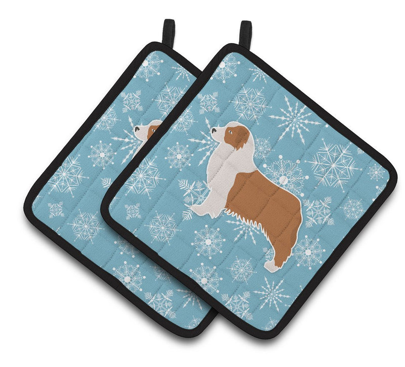Buy this Winter Snowflake Australian Shepherd Dog Pair of Pot Holders BB3533PTHD