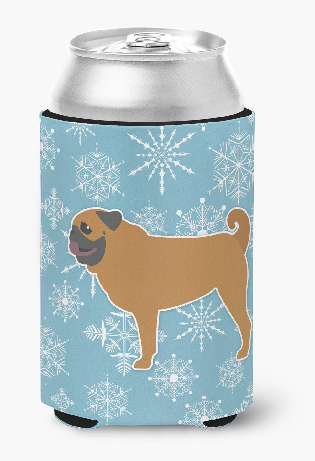 Winter Snowflake Pug Can or Bottle Hugger BB3547CC by Caroline's Treasures