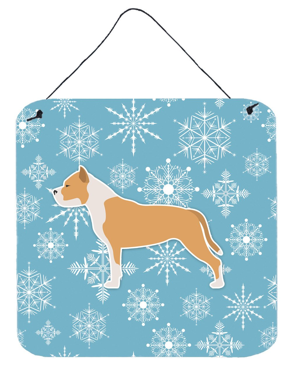 Buy this Winter Snowflake Staffordshire Bull Terrier Wall or Door Hanging Prints BB3554DS66