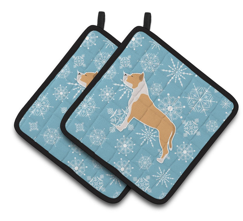 Buy this Winter Snowflake Staffordshire Bull Terrier Pair of Pot Holders BB3554PTHD