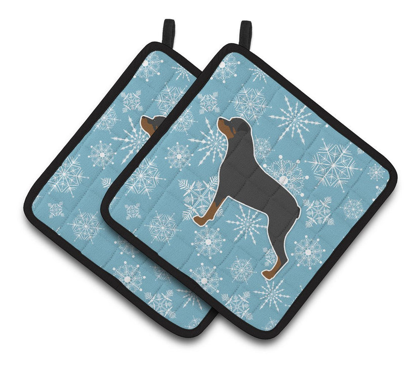 Buy this Winter Snowflake Rottweiler Pair of Pot Holders BB3566PTHD
