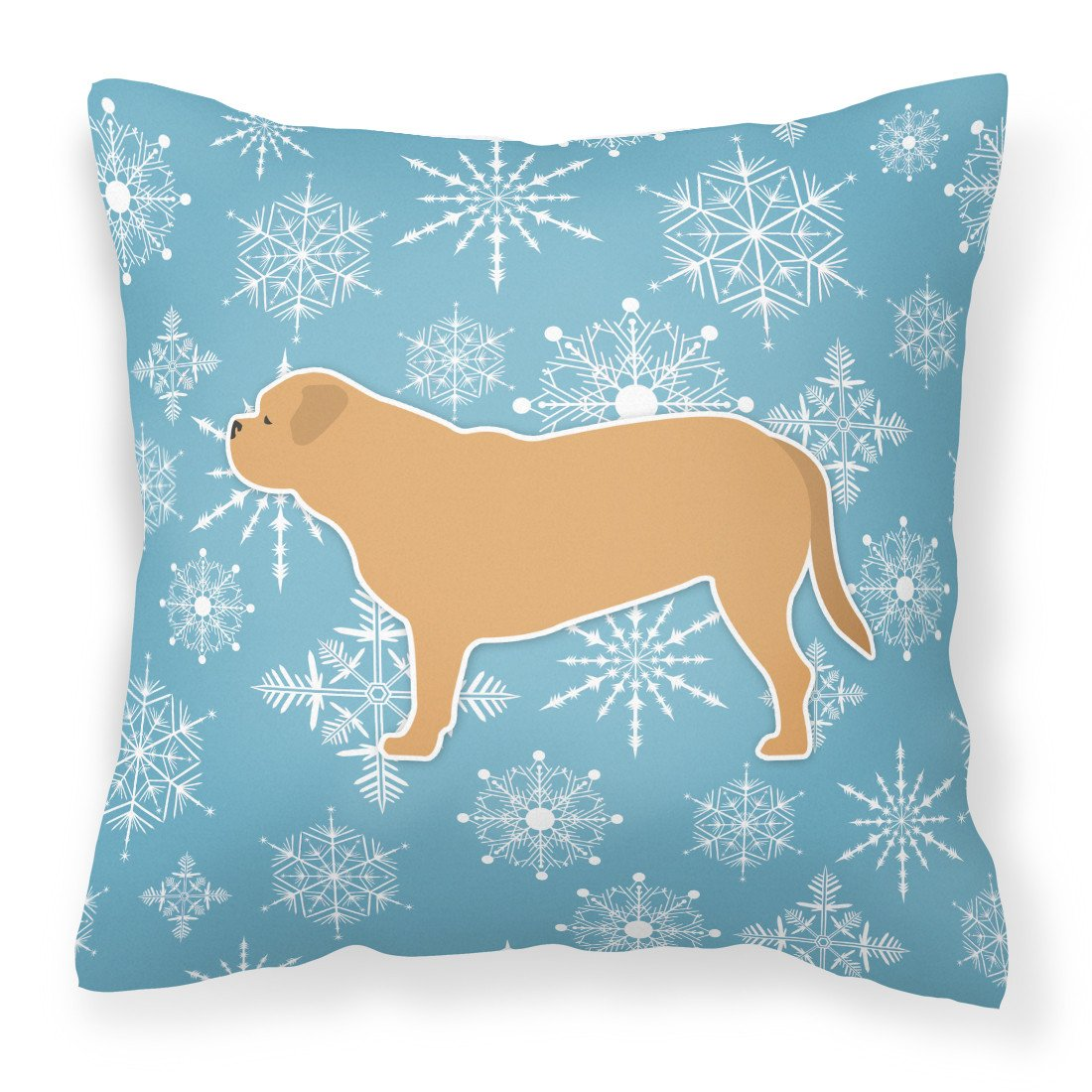 Winter Snowflake Dogue de Bordeaux Fabric Decorative Pillow BB3570PW1818 by Caroline's Treasures