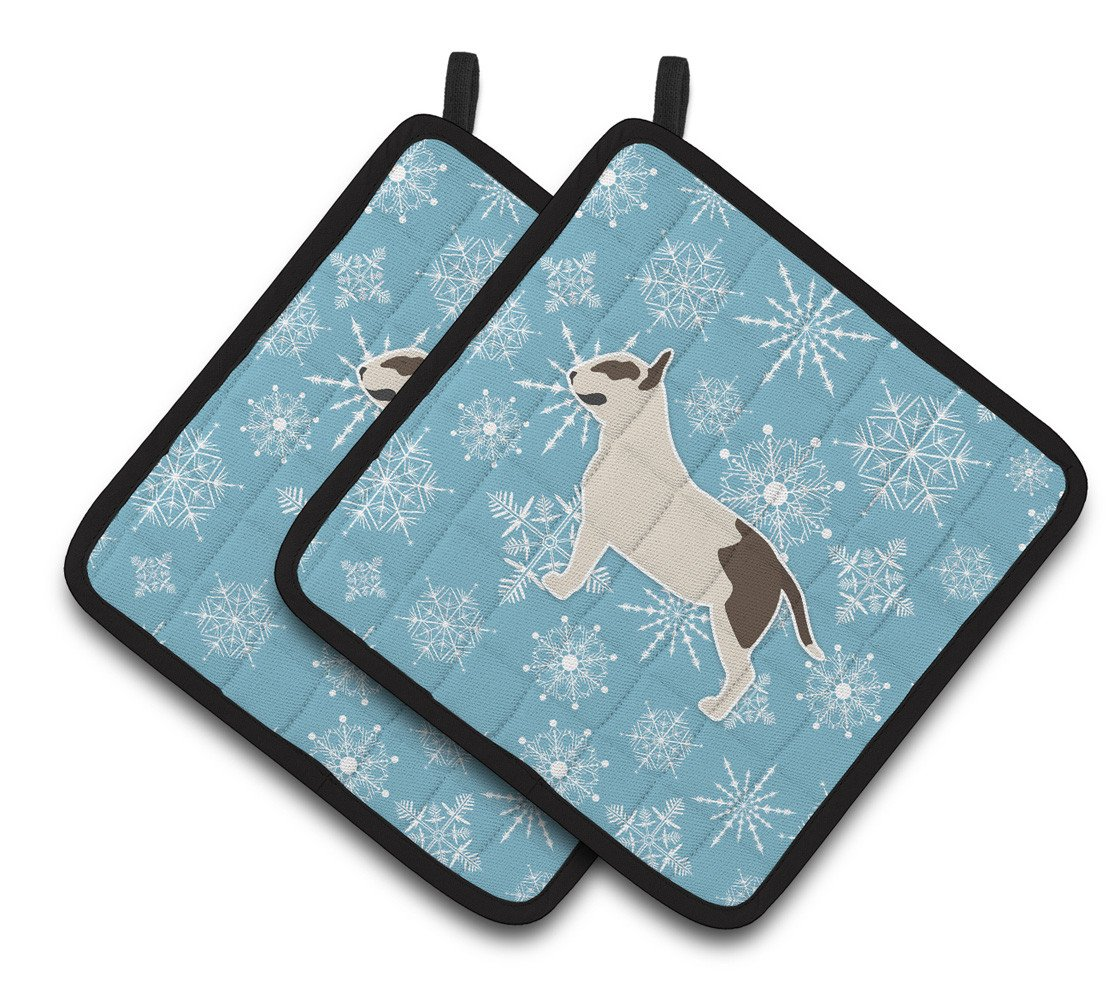 Buy this Winter Snowflake Bull Terrier Pair of Pot Holders BB3578PTHD