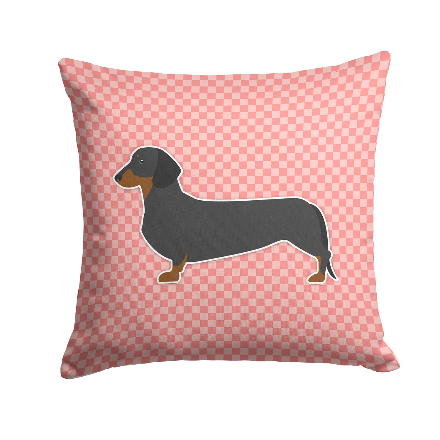 Buy this Dachshund Checkerboard Pink Fabric Decorative Pillow BB3582PW1414