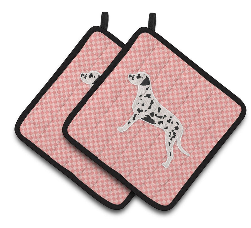 Buy this Dalmatian Checkerboard Pink Pair of Pot Holders BB3583PTHD