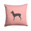 Toy Fox Terrier Checkerboard Pink Fabric Decorative Pillow BB3587PW1414 by Caroline's Treasures