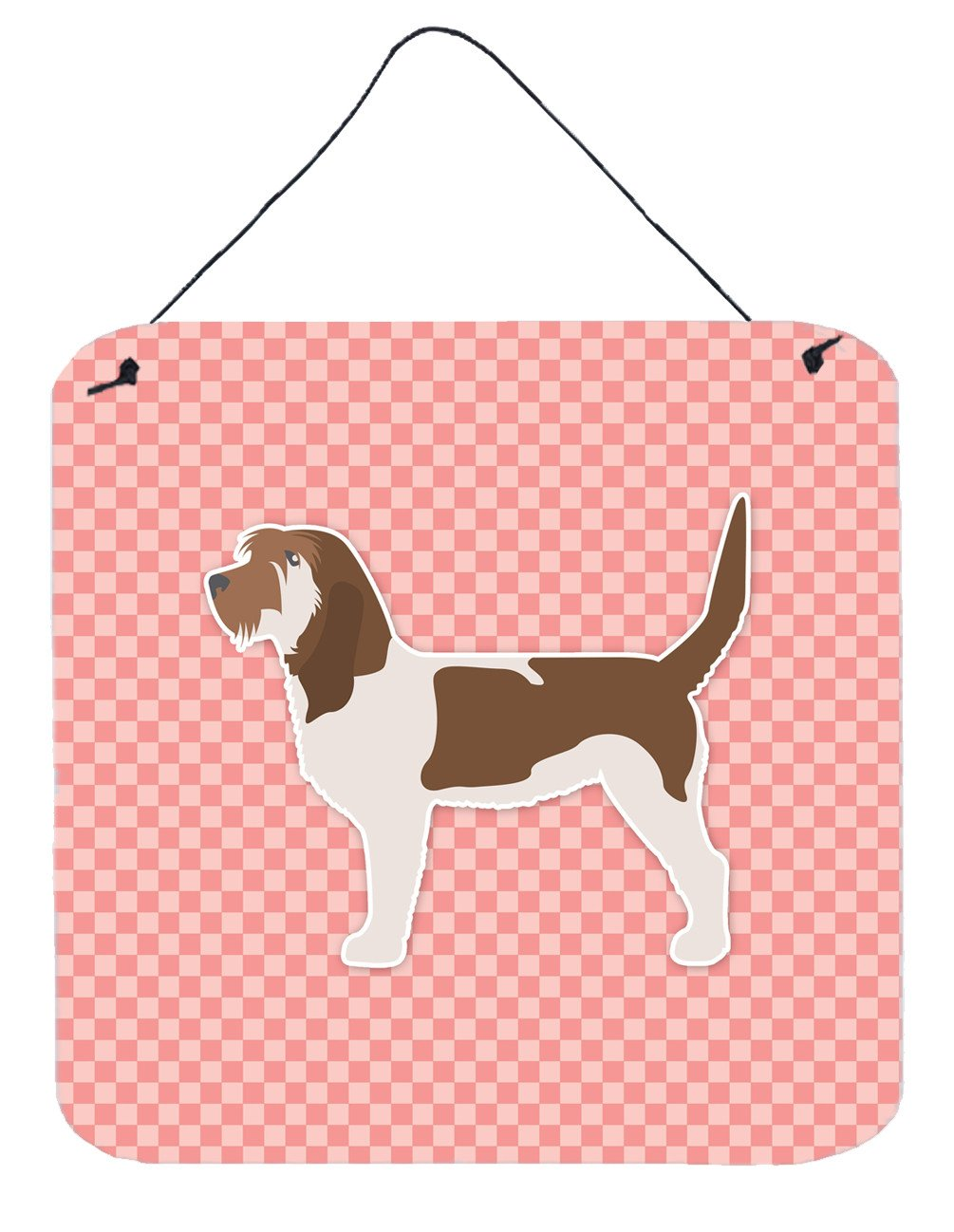 Grand Basset Griffon Vendeen Checkerboard Pink Wall or Door Hanging Prints BB3590DS66 by Caroline's Treasures