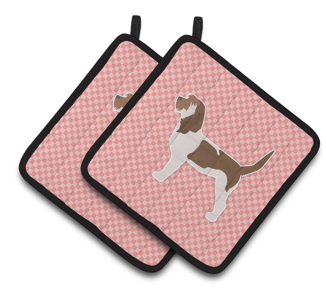 Grand Basset Griffon Vendeen Checkerboard Pink Pair of Pot Holders BB3590PTHD by Caroline's Treasures