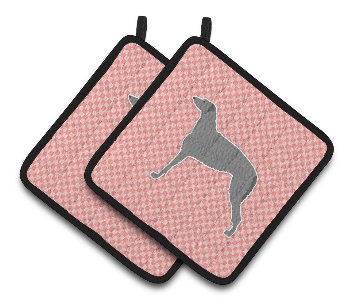 Scottish Deerhound Checkerboard Pink Pair of Pot Holders BB3596PTHD by Caroline's Treasures