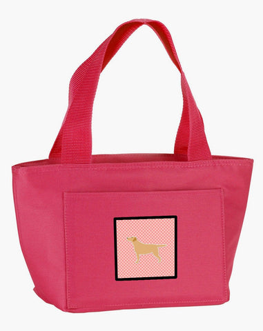 Buy this Yellow Labrador Retriever Checkerboard Pink Lunch Bag BB3597PK-8808