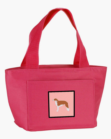 Buy this Borzoi Russian Greyhound Checkerboard Pink Lunch Bag BB3599PK-8808