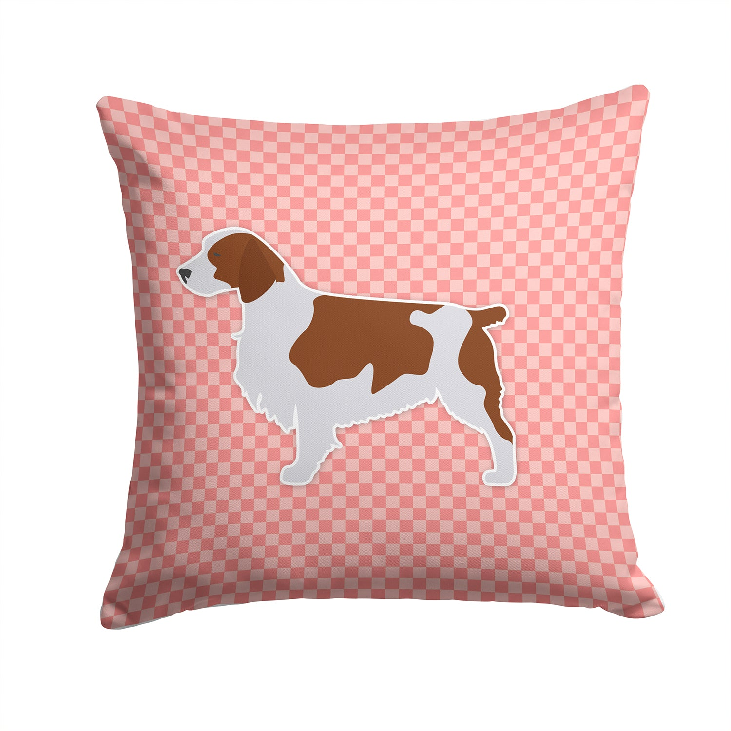 Welsh Springer Spaniel Checkerboard Pink Fabric Decorative Pillow BB3600PW1414 by Caroline's Treasures