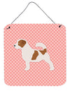 Jack Russell Terrier Checkerboard Pink Wall or Door Hanging Prints BB3607DS66 by Caroline's Treasures