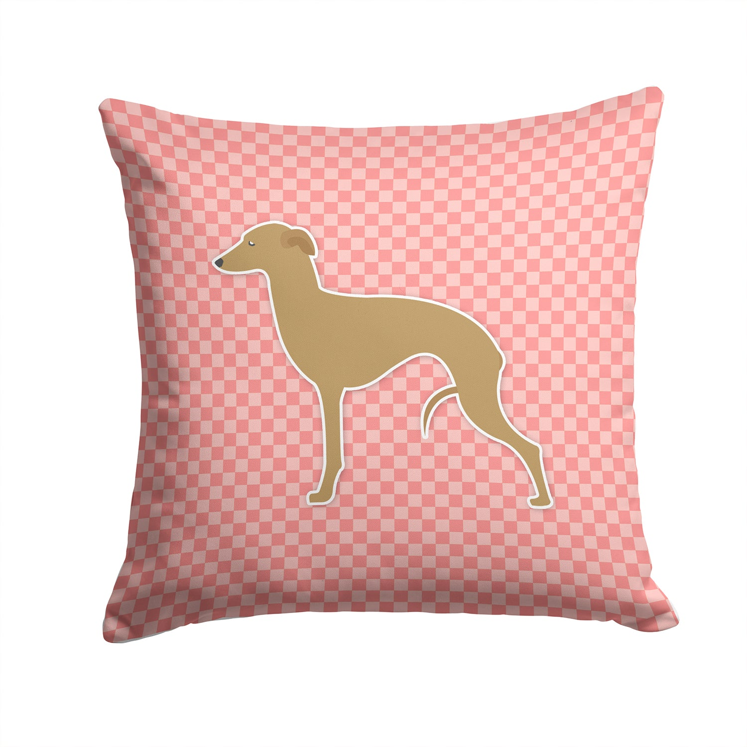 Italian Greyhound Checkerboard Pink Fabric Decorative Pillow BB3614PW1414 by Caroline's Treasures