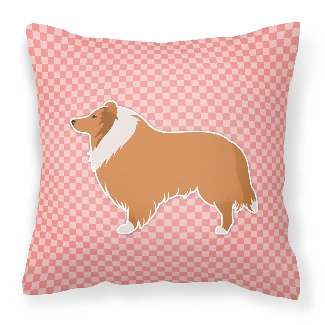 Collie Checkerboard Pink Fabric Decorative Pillow BB3616PW1818 by Caroline's Treasures