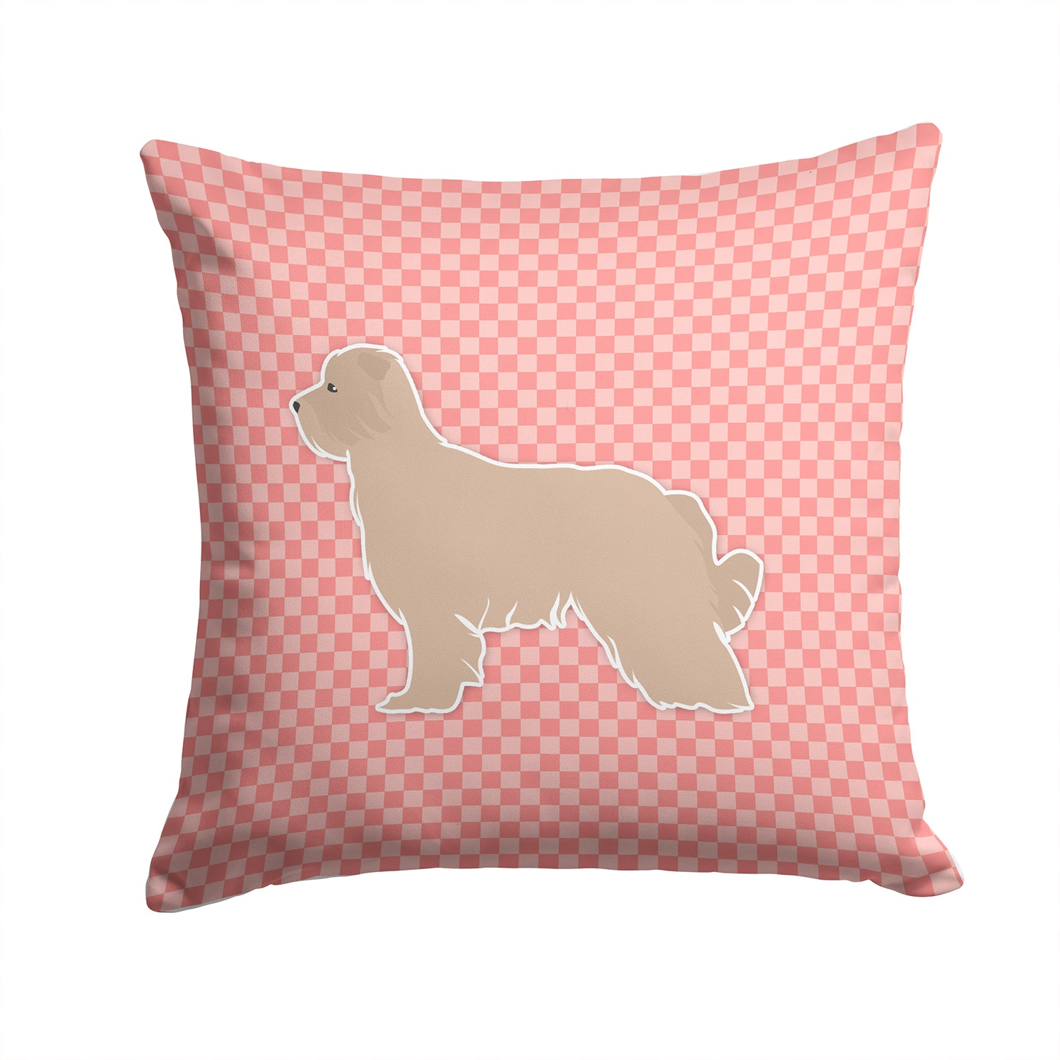 Pyrenean Shepherd Checkerboard Pink Fabric Decorative Pillow BB3618PW1414 by Caroline's Treasures