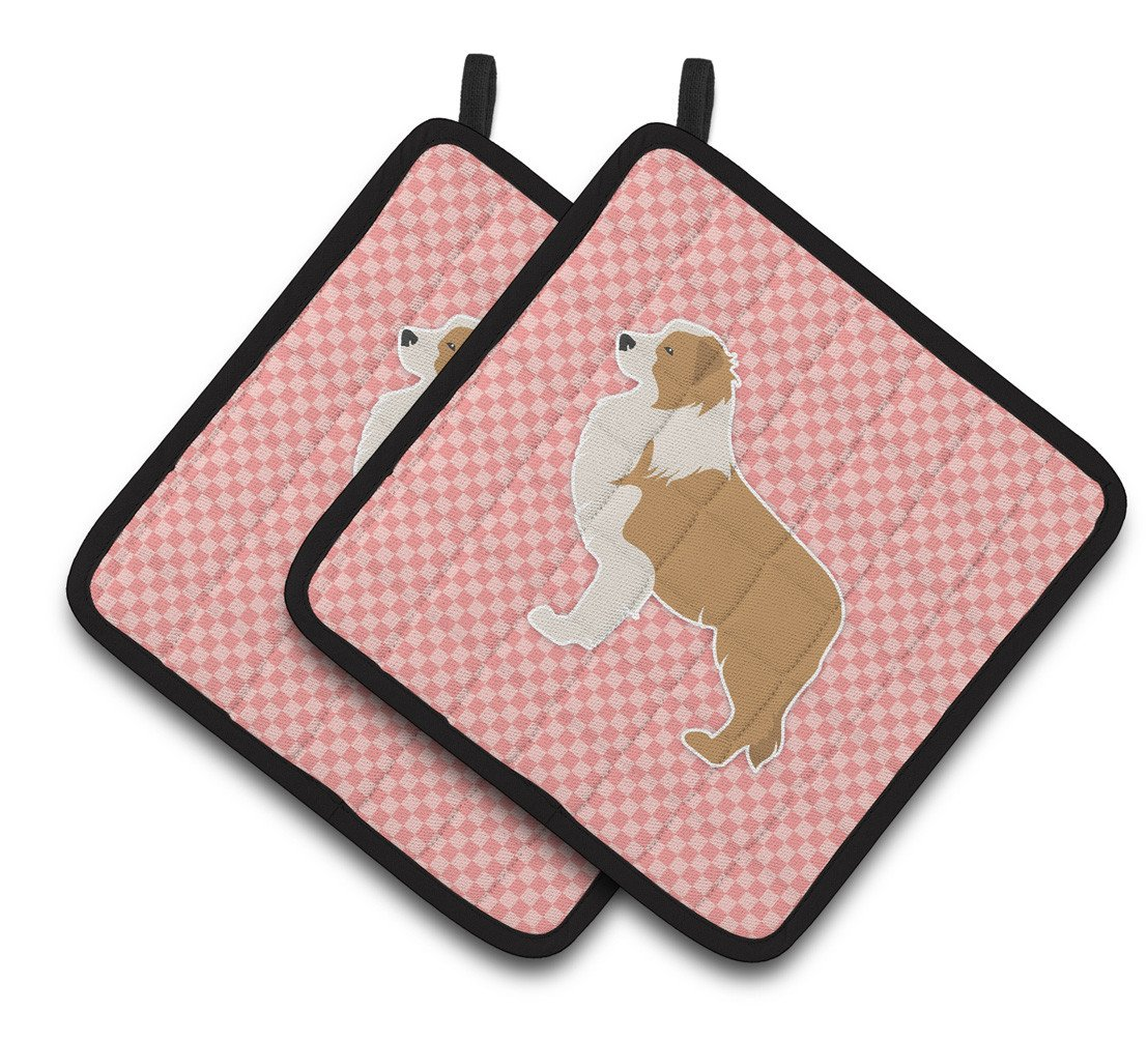 Red Border Collie Checkerboard Pink Pair of Pot Holders BB3622PTHD by Caroline's Treasures