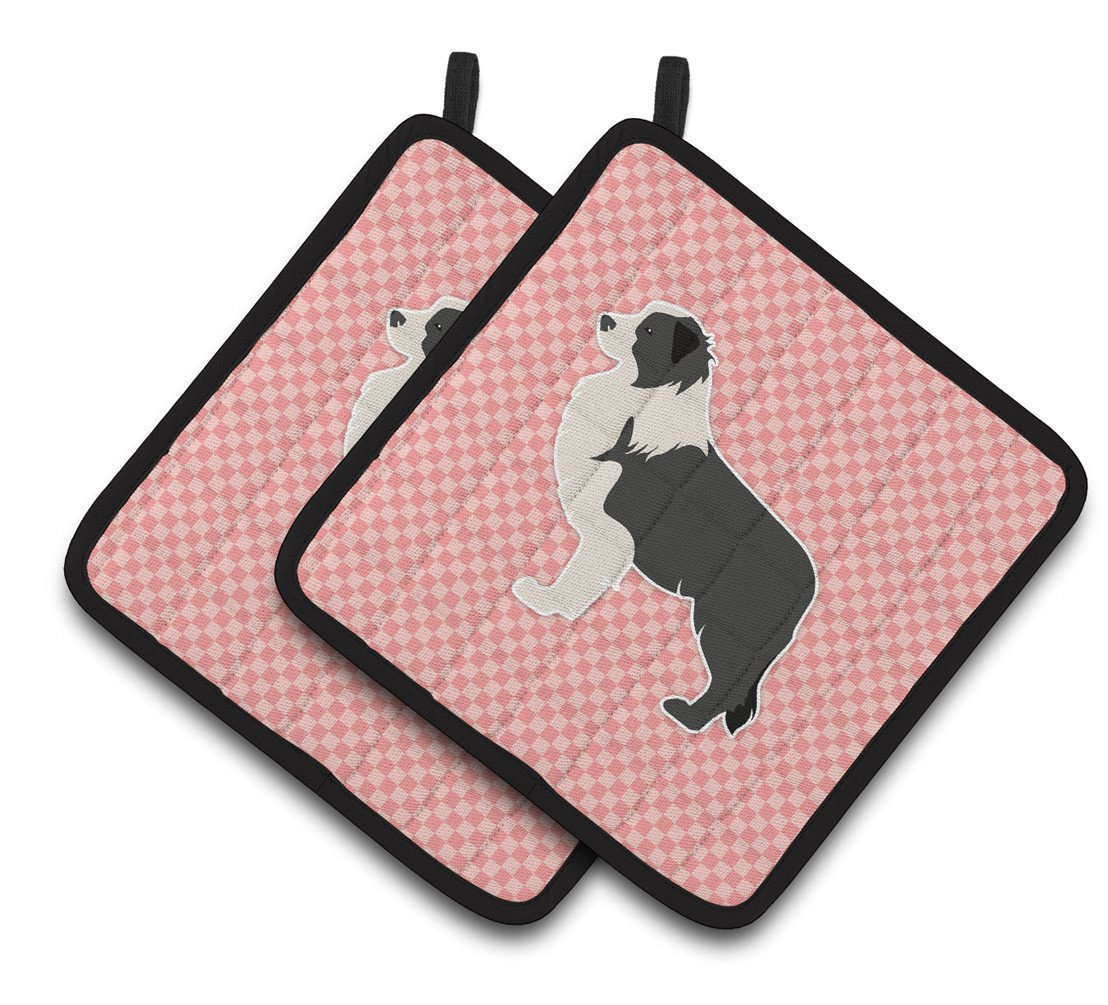 Black Border Collie Checkerboard Pink Pair of Pot Holders BB3623PTHD by Caroline's Treasures