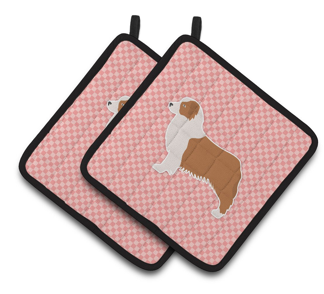 Australian Shepherd Dog Checkerboard Pink Pair of Pot Holders BB3633PTHD by Caroline's Treasures