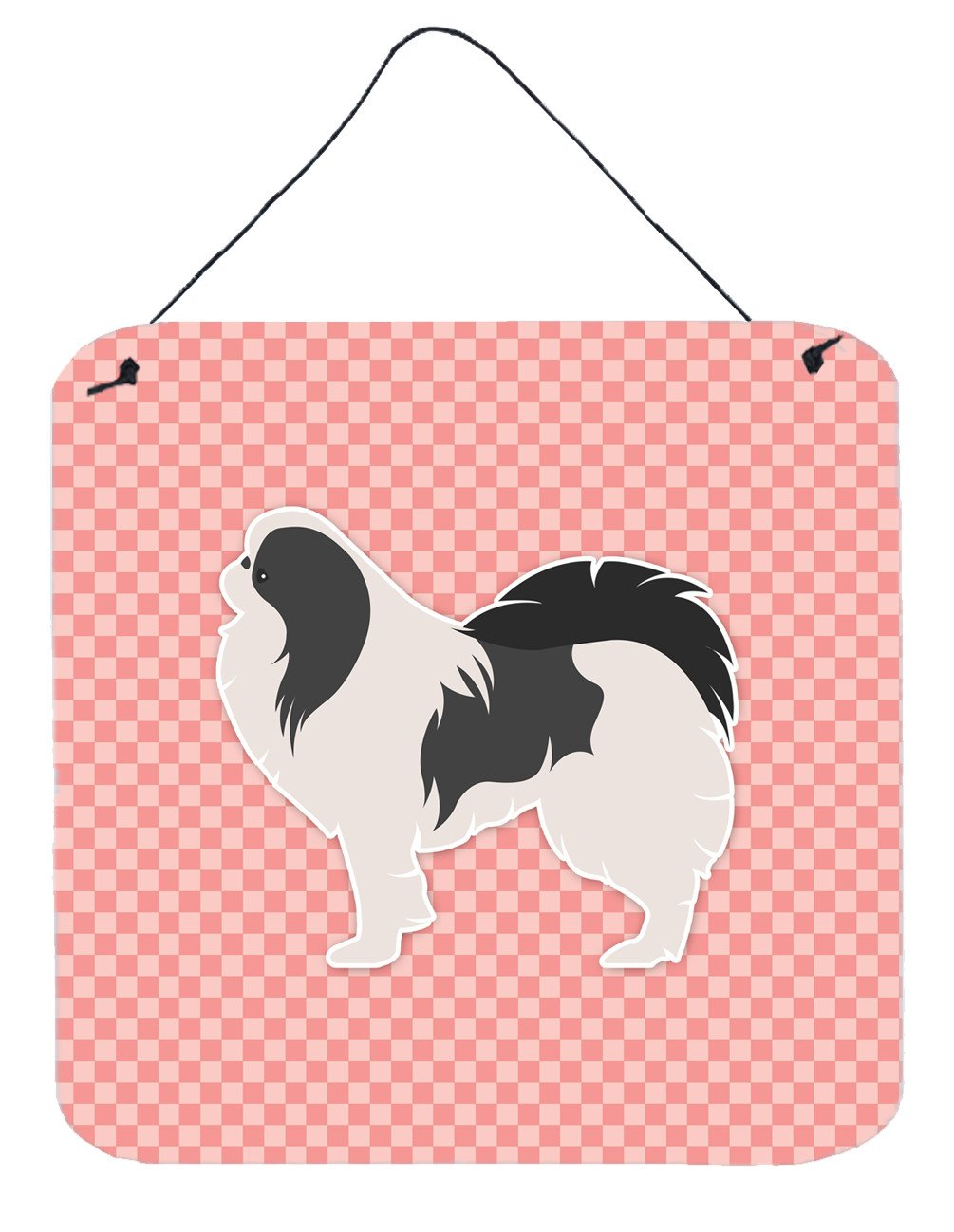 Japanese Chin Checkerboard Pink Wall or Door Hanging Prints BB3637DS66 by Caroline's Treasures