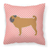 Pug Checkerboard Pink Fabric Decorative Pillow BB3647PW1818 by Caroline's Treasures