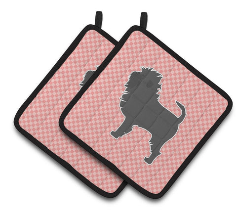 Buy this Affenpinscher Checkerboard Pink Pair of Pot Holders BB3648PTHD