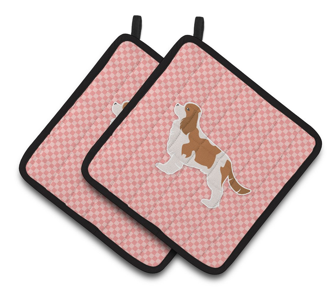 Cavalier King Charles Spaniel Checkerboard Pink Pair of Pot Holders BB3649PTHD by Caroline's Treasures