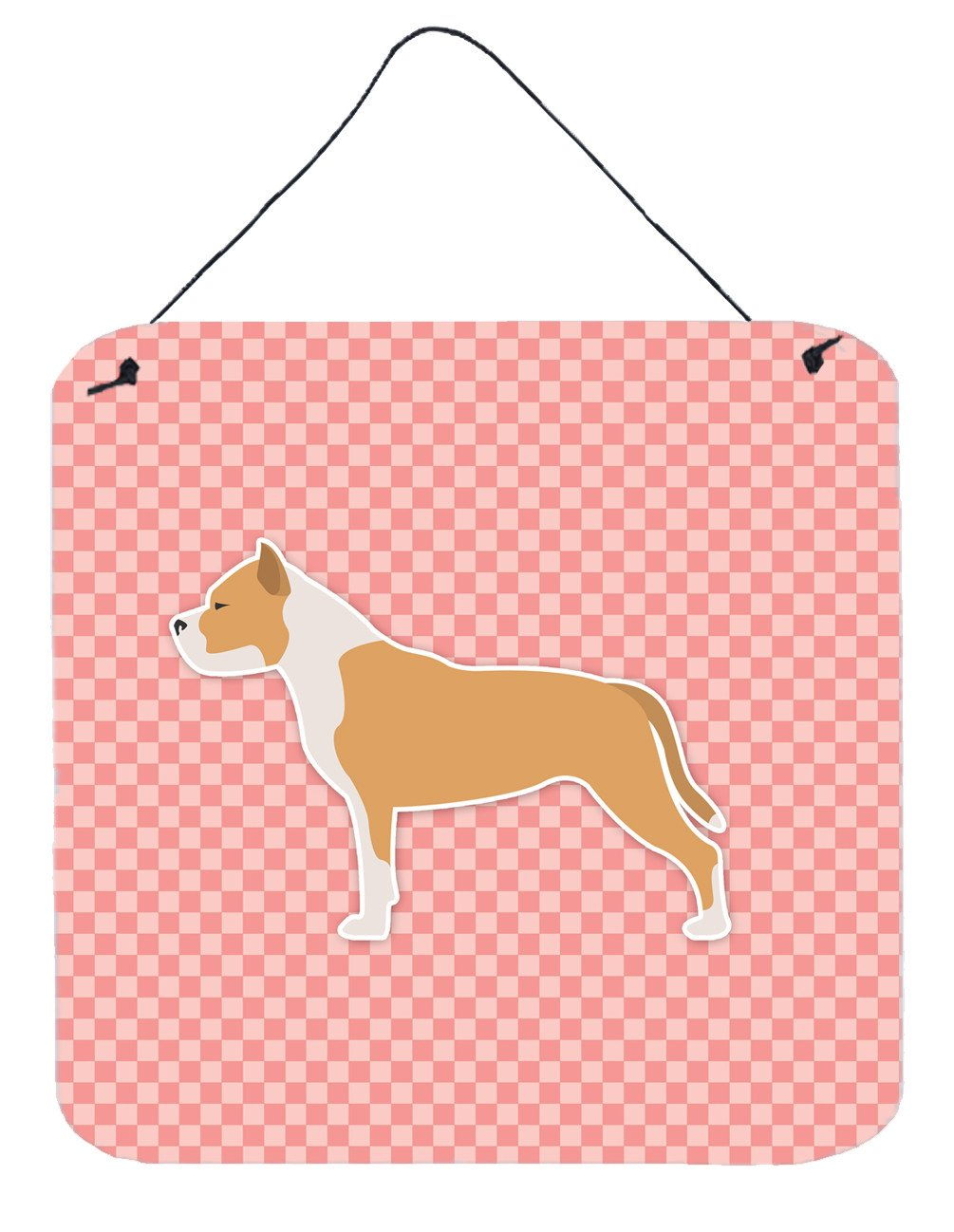 Buy this Staffordshire Bull Terrier Checkerboard Pink Wall or Door Hanging Prints BB3654DS66