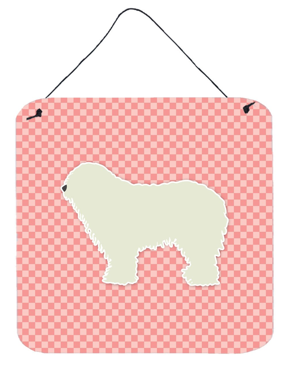 Komondor Checkerboard Pink Wall or Door Hanging Prints BB3655DS66 by Caroline's Treasures