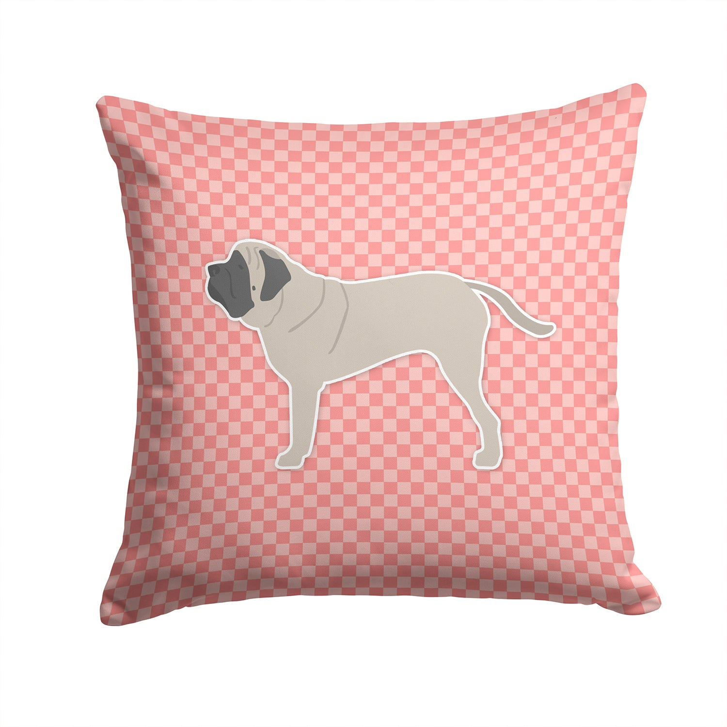 English Mastiff Checkerboard Pink Fabric Decorative Pillow BB3656PW1414 by Caroline's Treasures