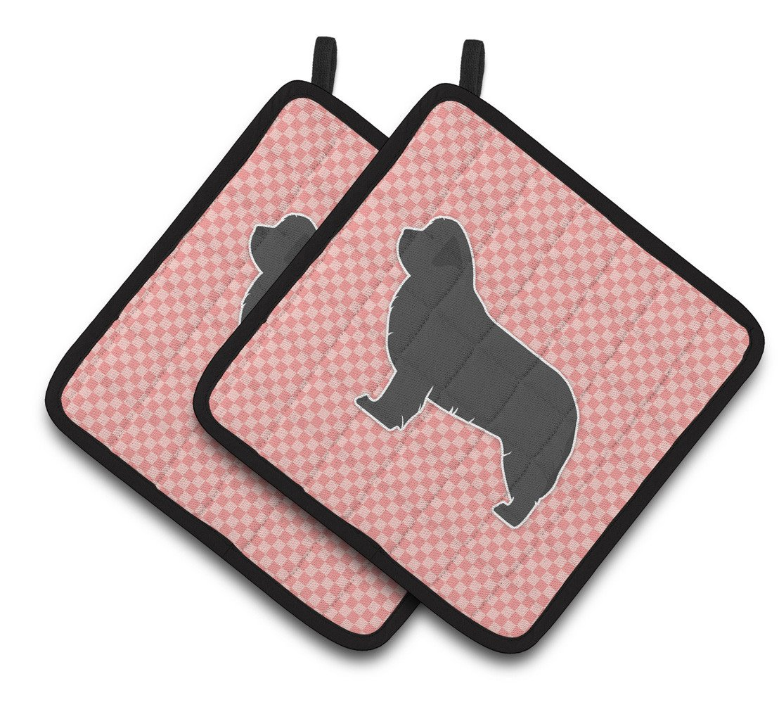Newfoundland Checkerboard Pink Pair of Pot Holders BB3664PTHD by Caroline's Treasures
