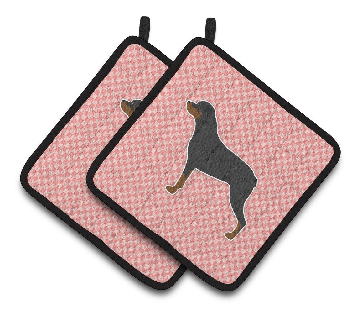 Rottweiler Checkerboard Pink Pair of Pot Holders BB3666PTHD by Caroline's Treasures