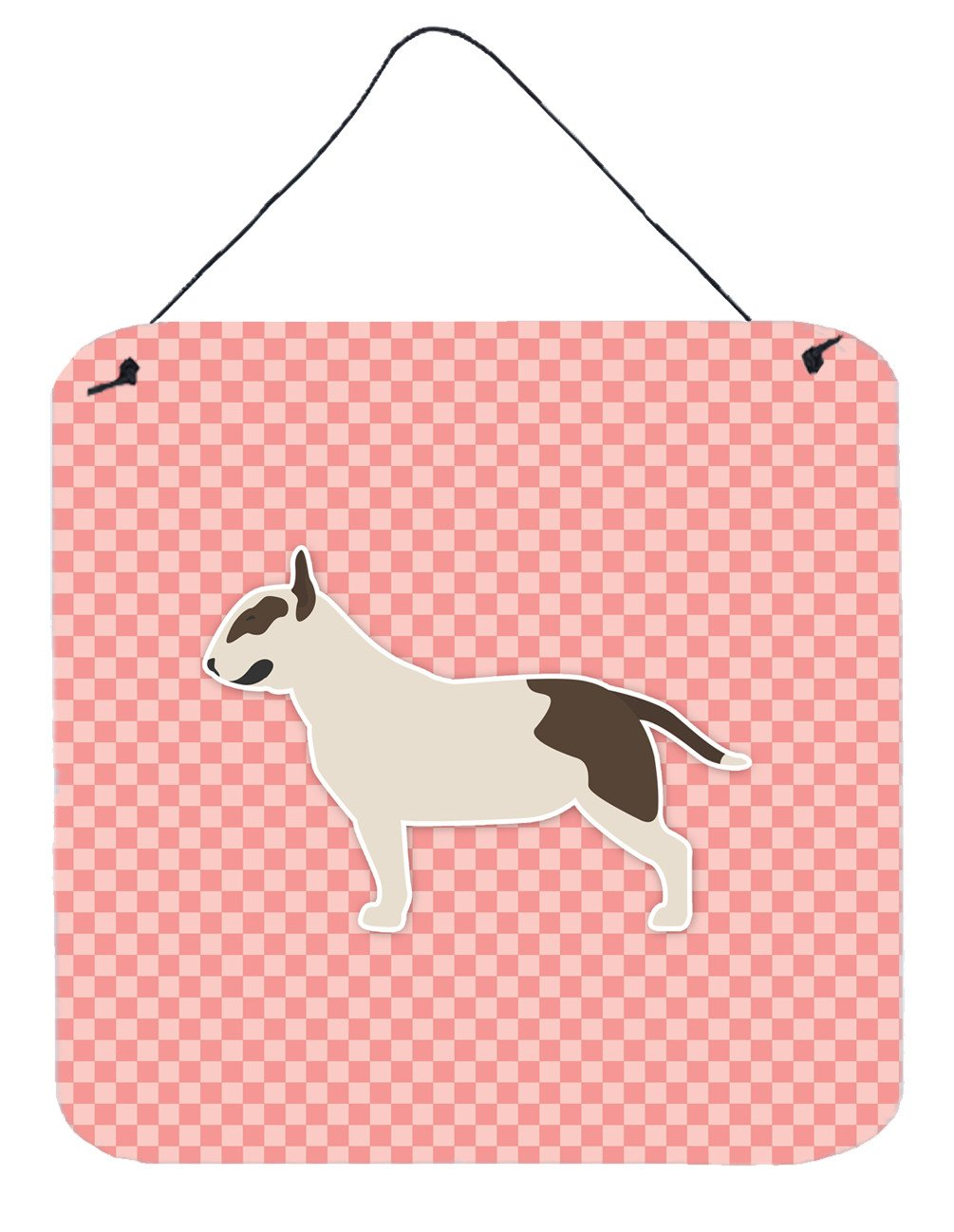 Buy this Bull Terrier Checkerboard Pink Wall or Door Hanging Prints BB3678DS66