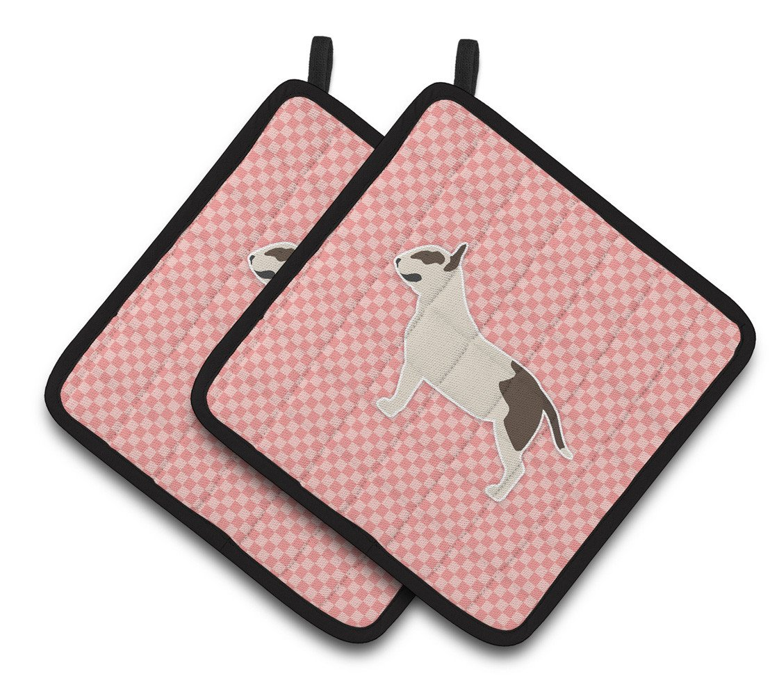 Buy this Bull Terrier Checkerboard Pink Pair of Pot Holders BB3678PTHD
