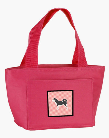 Buy this Siberian Husky Checkerboard Pink Lunch Bag BB3680PK-8808